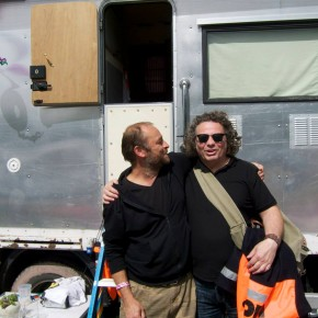 With my old friend Cosmic Rob - the finder of the fabled Glastonbury Red Slippers. He has a new van...