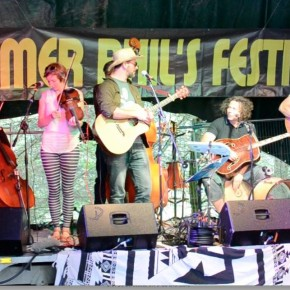 Ready to go... — with Charlotte Price, Caitriona Leach, Jared Jackson, Simon Smith and Rob Dunsford at Farmer Phil's 14th Annual Music Festival.